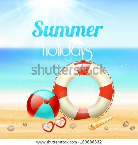Summer holiday vacation travel background poster with sunglasses lifeline and starfish on beach sand vector illustration - stock vector