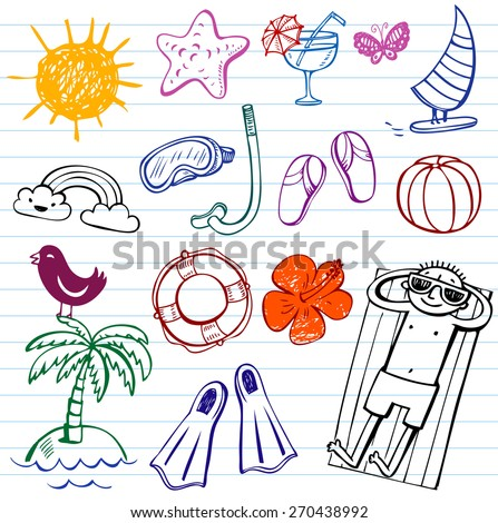 Summer holiday vector doodle collection - stock vector