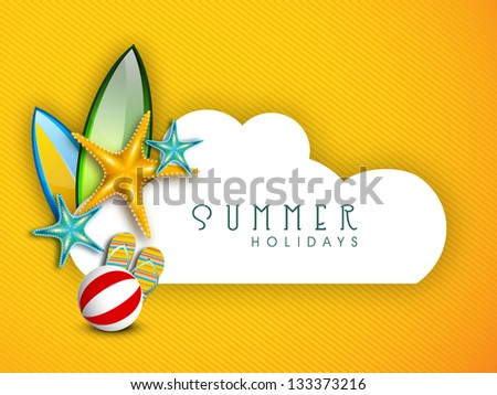 Summer Holidays background with shiny starfish, flip flops and ball with space for your message. - stock vector