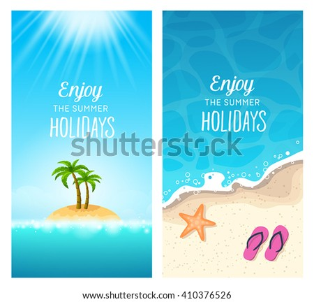 Summer holidays banners - traveling to tropical destinations, relaxation on the beach. - stock vector