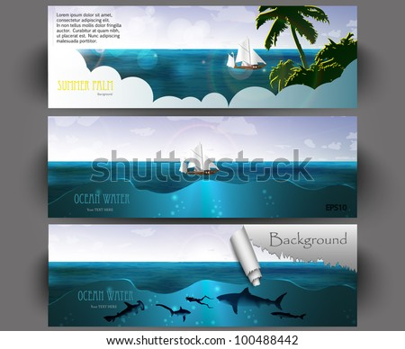 Summer holidays banners vector set - stock vector