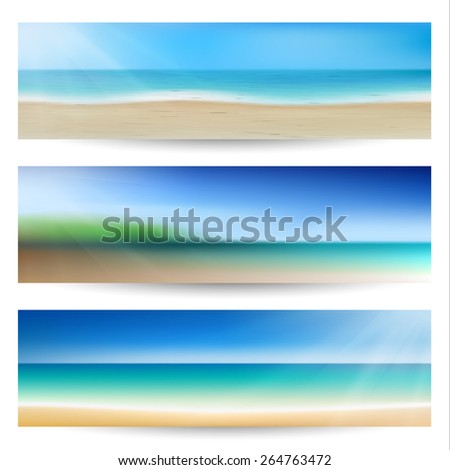Summer holidays banners with coastline waves - eps10 - stock vector