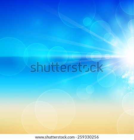 Summer Holidays. Beautiful seaside view with sunlight. Vector illustration. - stock vector
