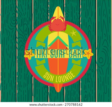 Summer holidays design elements and typography design. Retro and vintage templates. Surfing tiki bar, labels, badges, cards. Vector set. - stock vector