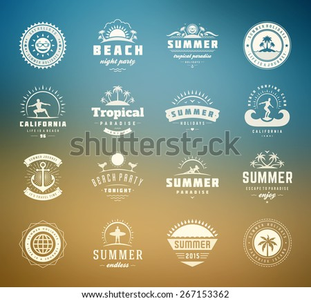 Summer holidays design elements and typography set. Retro and vintage templates. Labels, Badges, Posters, T-shirts, Apparel. Vector set. Beach vacation, party, travel, tropical paradise, adventure. - stock vector