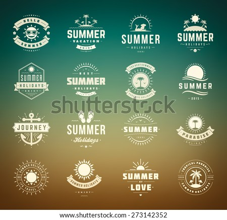 Summer holidays design elements and typography set. Retro and vintage templates. Labels, Badges, Posters, Emblems. Vector set. Beach vacation party, tropical paradise adventure. - stock vector