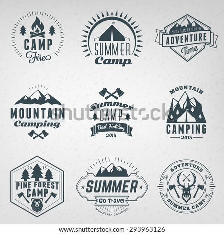 Summer Holidays Design Elements. Set of Hipster Vintage Logotypes and Badges - stock vector