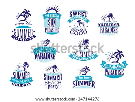 Summer holidays emblems and logo in blue with beach, sunrise, palm tree and wave for travel or leisure design - stock vector