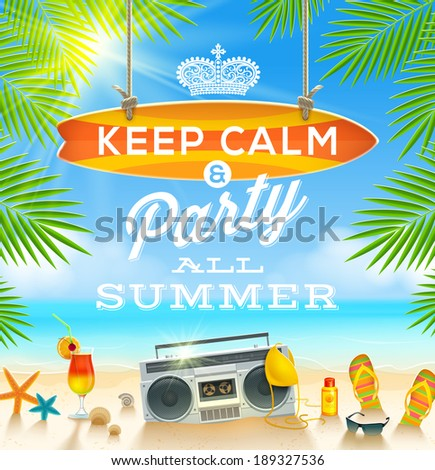 Summer holidays greeting design - vector illustration - stock vector