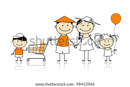 Summer holidays. Happy family with shopping basket for your design - stock vector