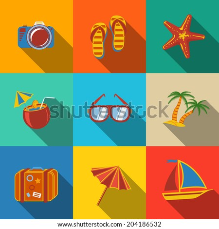 Summer holidays modern flat icons set on color squares with - coconut cocktail, fish star, slippers, palms, suitcase,beach umbrella,yacht,sun glasses, photo camera.