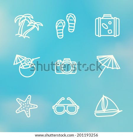 Summer holidays monochrome linear icons set on summer sky background with - coconut cocktail, fish star, slippers, palms, suitcase,beach umbrella,yacht,sun glasses, photo camera. - stock vector