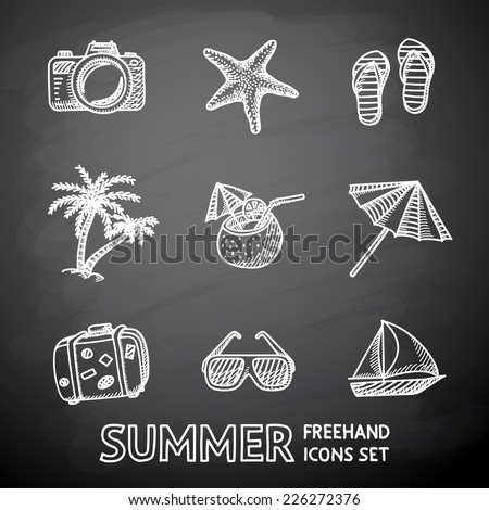 Summer holidays monochrome painted on black chalkboard icons set with - coconut cocktail, fish star, slippers, palms, suitcase,beach umbrella,yacht,sun glasses, photo camera. - stock vector