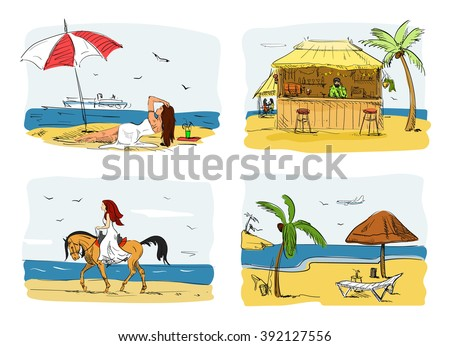 Summer holidays on a beach concept vector illustration. Woman on sand under umbrella next to sea. Horse riding. Bar on a beach.