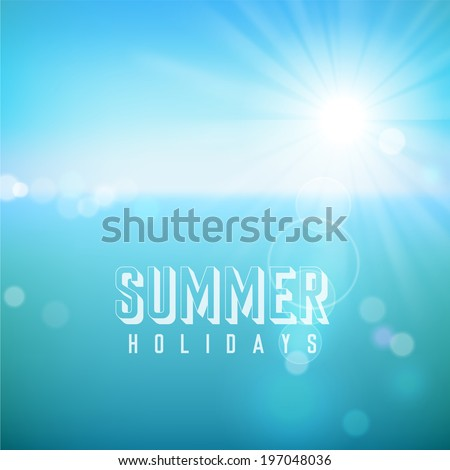 Summer holidays. Poster on tropical beach background. Vector eps10. - stock vector