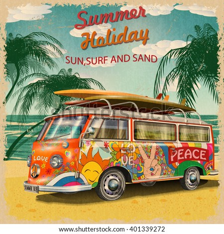 Summer holidays poster with retro bus - stock vector