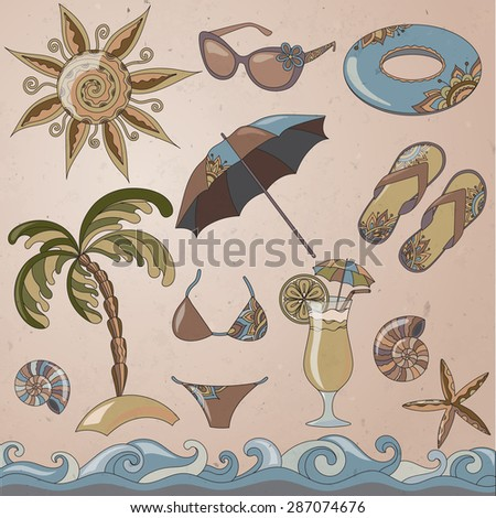 Summer holidays seaside beach icons set. isolated vector illustrations in vintage style