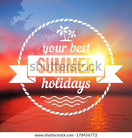 Summer holidays vector background with text design - stock vector