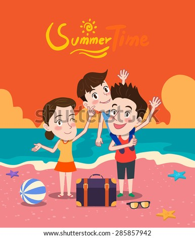 Summer holidays vector illustration,flat design beach and family travel concept - stock vector