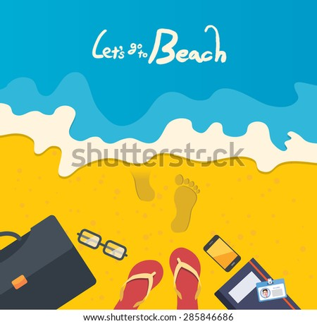 Summer holidays vector illustration,flat design go to beach and business concept - stock vector