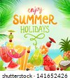 Summer holidays vector illustration set with cocktails, palms, sun, sky, sea, fruits and berries. Coconut, strawberry, pineapple, watermelon, cherry, orange and lemon for best summer design. - stock vector