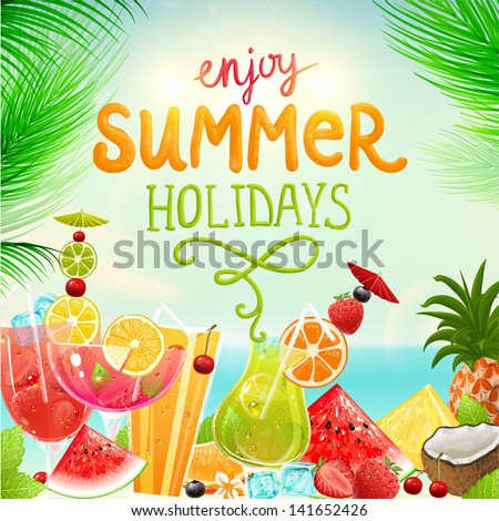Summer holidays vector illustration set with cocktails, palms, sun, sky, sea, fruits and berries. Coconut, strawberry, pineapple, watermelon, cherry, orange and lemon for best summer design.