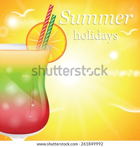 Summer holidays vector illustration with cocktail