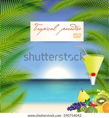 Summer holidays vector illustration with  orange cocktail, palms, sea and sky background - stock vector