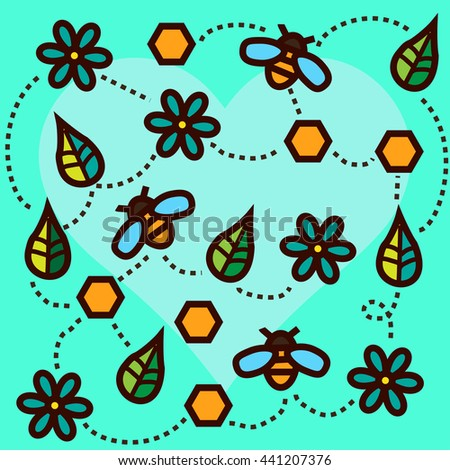 Summer honey and bee and flowers pattern - stock vector