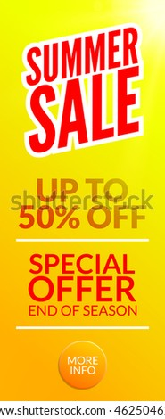 Summer Hot Sale discount template poster. Summer sale banner special offer. Half price deal.