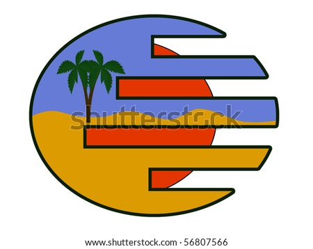 summer icon beach white background - stock vector