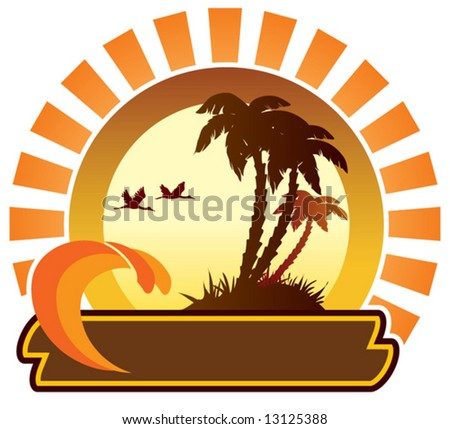 Summer icon - island - stock vector