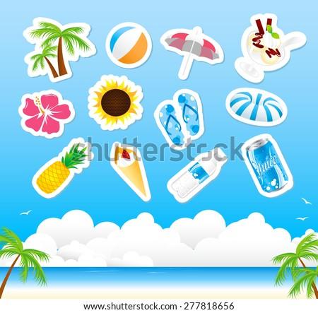 summer icon set Vector  - stock vector