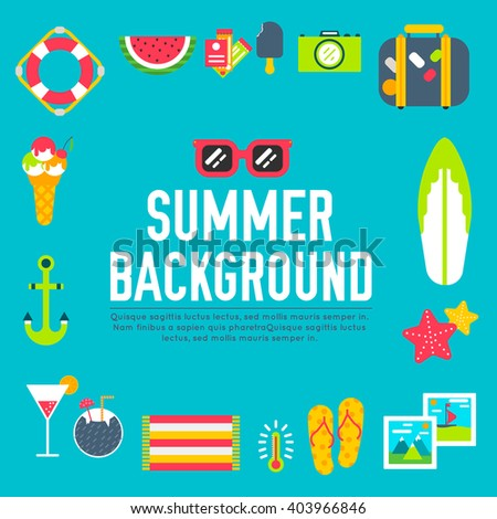 Summer icon. Summer concept. Summer flat. Summer vacation. Summer logo. Summer items. Summer set. Summer background. Summer elements. Summer text. Summer time. Summer image. Summer eps. Summer vector - stock vector