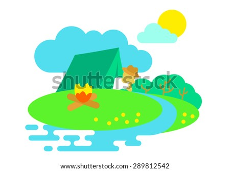 Summer icon with camping near the river - stock vector