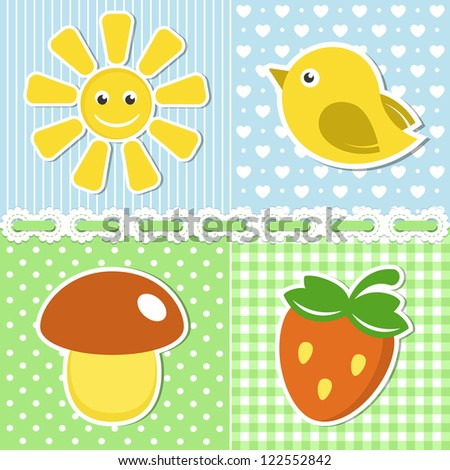 Summer icons of flower, strawberry, sun and bird on textile backgrounds - stock vector