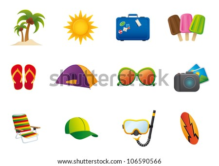 Summer Icons set icons featuring the principal international summer symbols - stock vector