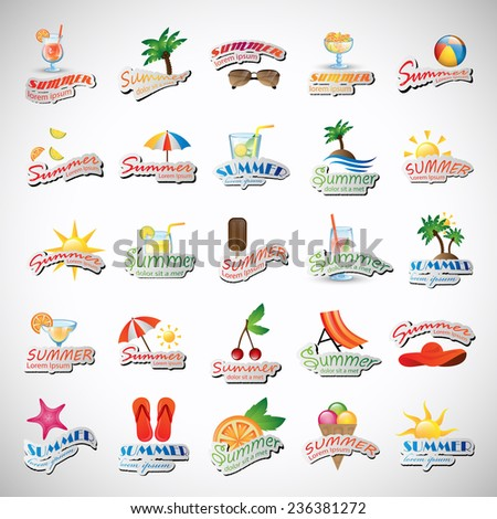 Summer Icons Set - Isolated On Gray Background - Vector Illustration, Graphic Design Editable For Your Design - stock vector