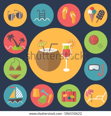 Summer icons set; rest, vacation and entertainment during summer time. Flat design vector.