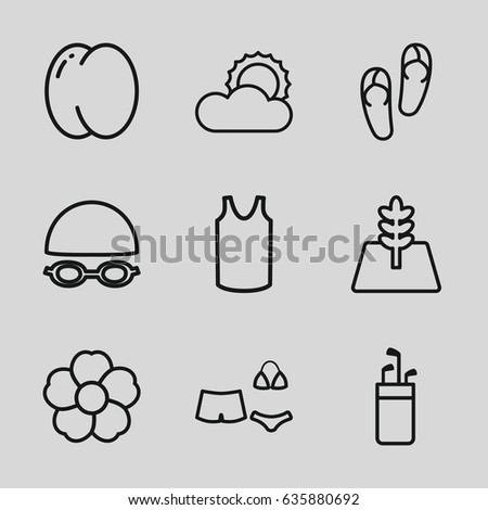 Summer icons set. set of 9 summer outline icons such as peach, flip flops, singlet, flower, sun, swimsuit, tree, swimming hat and glasses