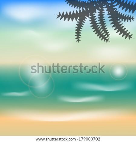 Summer illustration ocean waves, beach shore on vacation vector - stock vector
