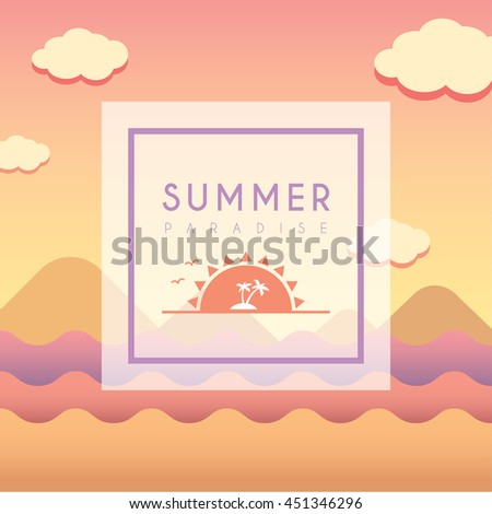 Summer illustration with landscape and symbol island. Vector sunset background.