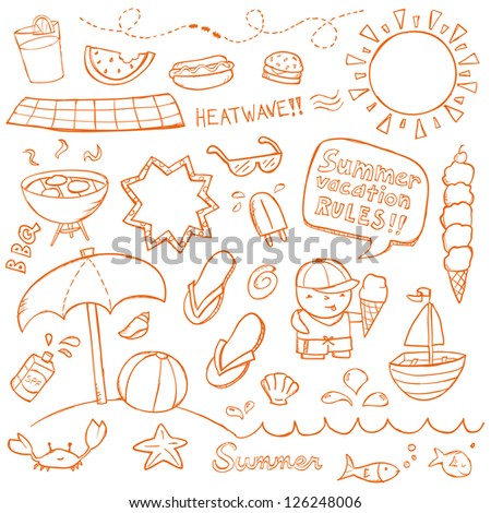 Summer illustrations drawn in a doodled style. - stock vector
