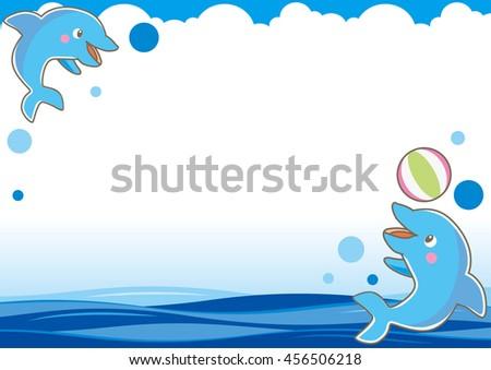 Summer Image Dolphin Sea Frame Type Stock Vector 456506218 ...