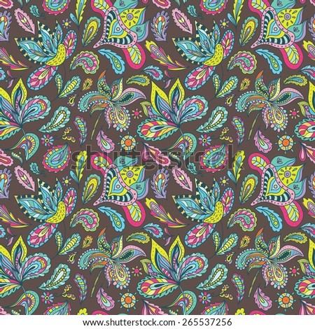 Summer Indian Pattern | Vector seamless wallpaper with ethnic paisley and floral elements on brown background for bright cheerful design - stock vector