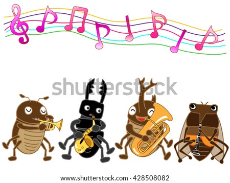 Summer insect band plays musical instruments. - stock vector