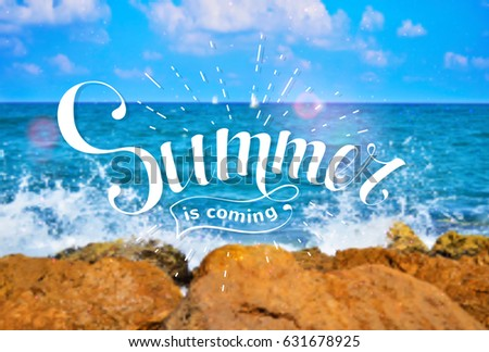 Superb Summer Is Coming. Hand Drawn Lettering On The Background Of A Sea Landscape.