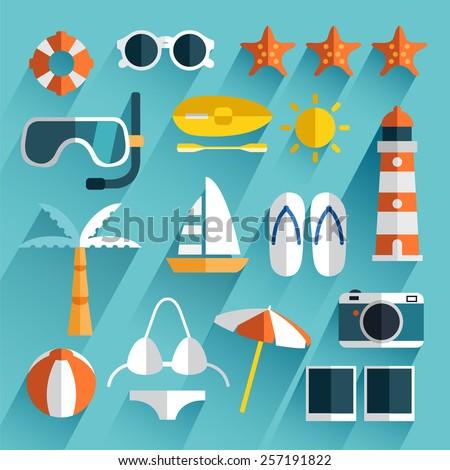 Summer Item : Flat Icon Set - stock vector