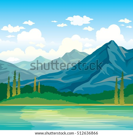 Summer landscape - blue mountains with forest and calm river on a sunset cloudy sky background. Nature vector illustration.