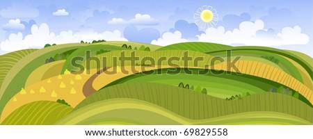 Summer Landscape Panorama - stock vector